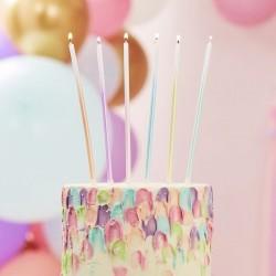 Longues bougies pastel - 12 pcs