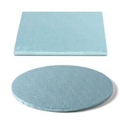 Tortenplatte baby blau, quadrat, rund