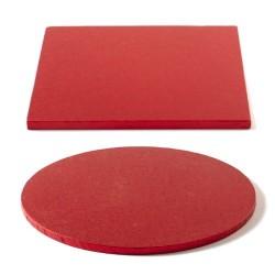 Tortenplatte rot, rund, quadrat