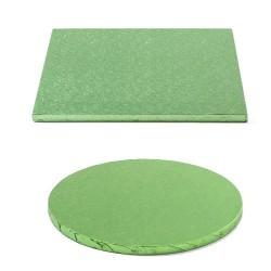 Tortenplatte hellgrün, quadrat, rund