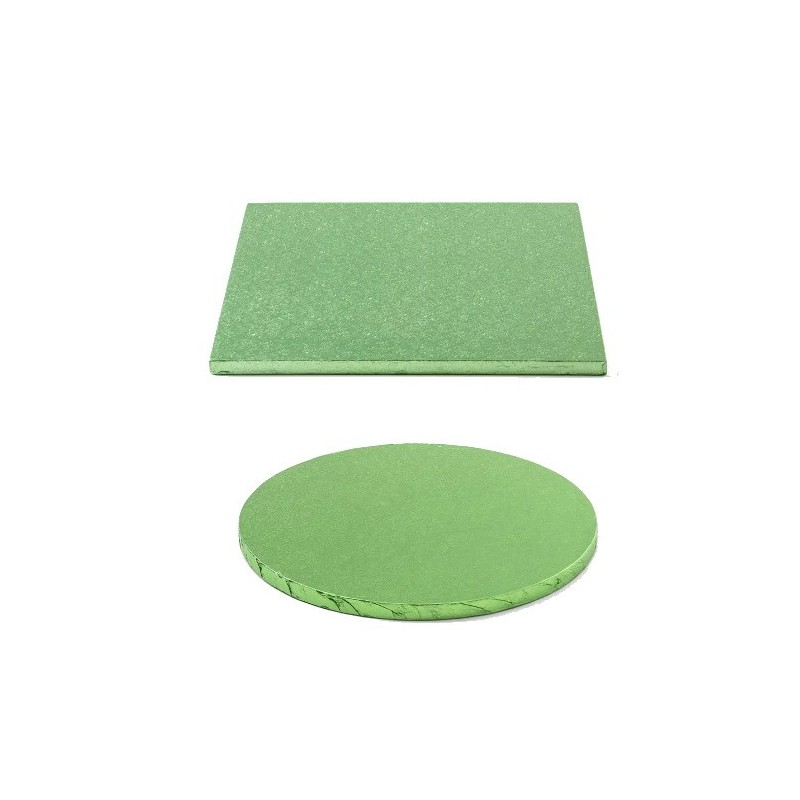 cake drum light green, round, square