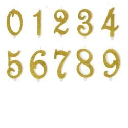 Bougies dorées - chiffre a choix