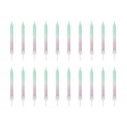 candles mermaid green, purple sparkle
