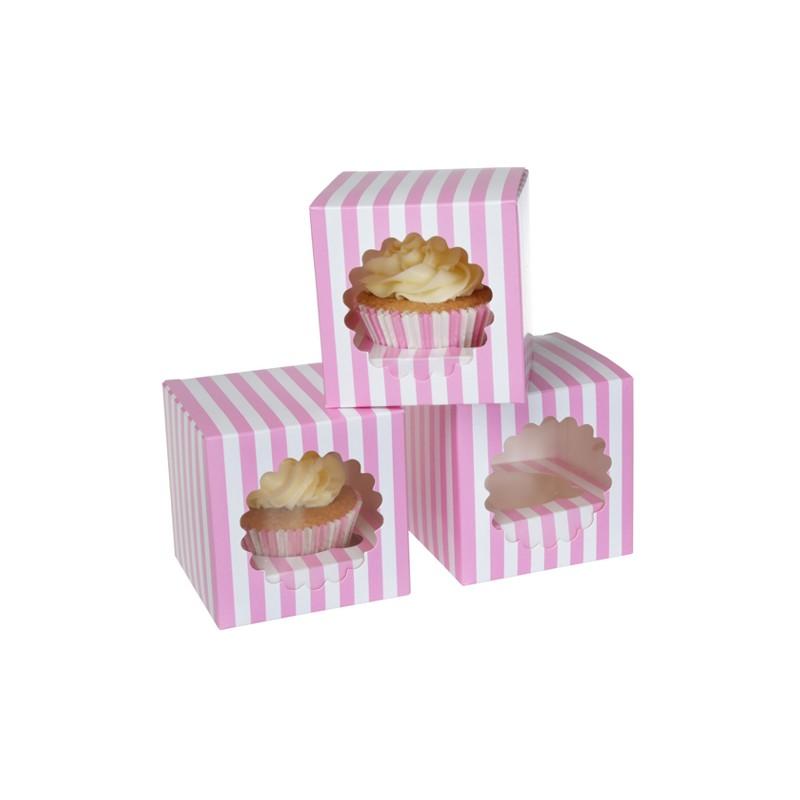 "Cupcake Box 1 ""Circus Pink"" Pk/3"