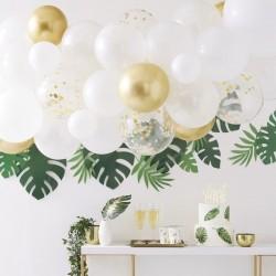 Ballonbogen, weiss, gold, chrom, Konfetti