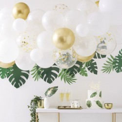 Balloon arch, white, gold chrome, confetti