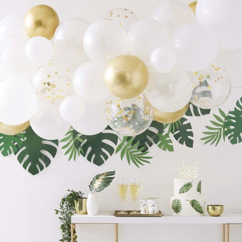 Balloon arch, white, gold chrome, confetti