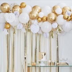 Girlande ballon weiss gold chrom, Konfetti, papierwaben, pompom