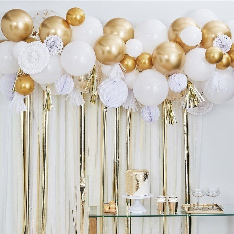 Garland balloon white gold chrome, Confetti, honeycombs, tassels