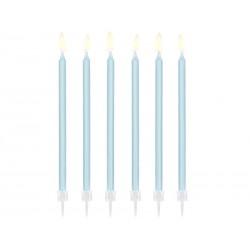 tall, big, candles, light blue , birthday