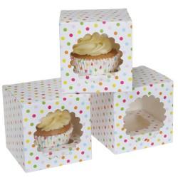 """Cupcake Box 1 """"Confetti"""" Pk/3"""