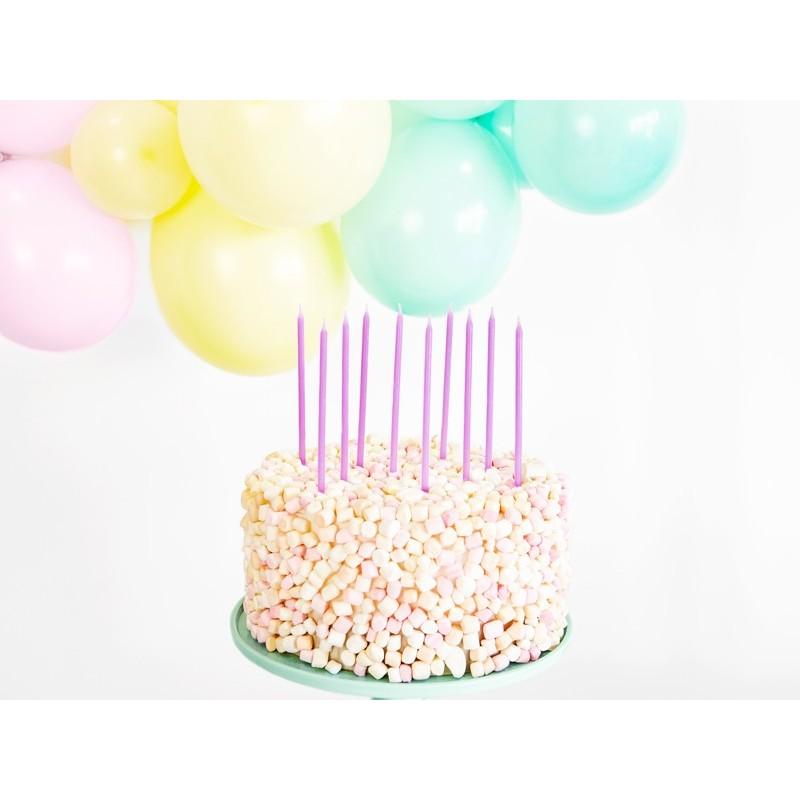 tall, candles, birthday, light, rainbow , lilac