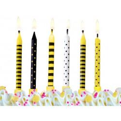 Kerzen, gelb, schwarz, punkt, streifen, biene, frühling