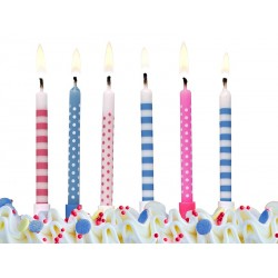 candles, pink, blue, white, dots, stripes