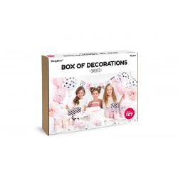box, decoration, birthday, girl, princess, adult, pink, black, pompom, whistle, balloon