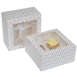 """Cupcake Box 4 """"Confetti"""" Pk/2"""