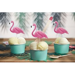 cups, ice cream, homemade, birthday, turquoise, tropical, pink flamingo
