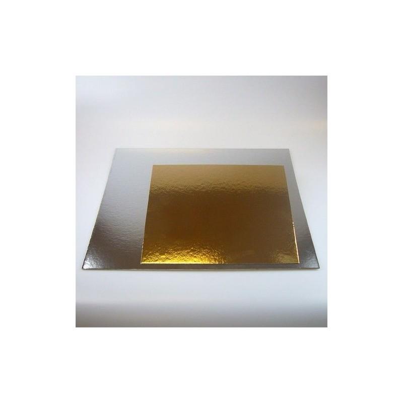 cake drum, square. gold, silver, 30cm
