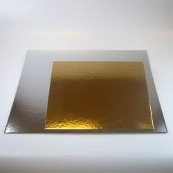 Plateau gâteau argent/or CARRE 35cm - 3pcs