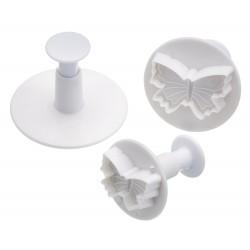 emporte-pièce à piston - 3 pièces - motif papillon