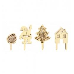 Holzdeco Weihnachten, tannenzapfen, Weihnachtsmann, Haus, Tannenbaum