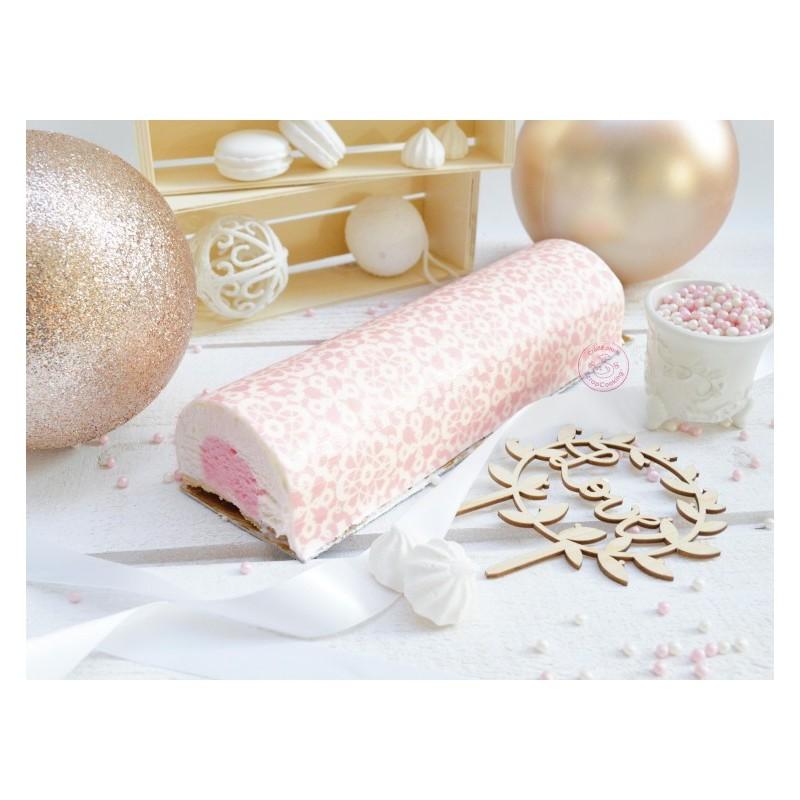 rouleau pâte à sucre, dentelle, noël, rose, décoration