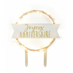 topper, led, joyeux anniversaire, anniversaire, décoration