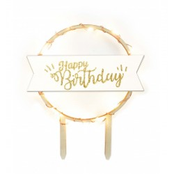 topper, led, cake, happy birthday, decoration, wood