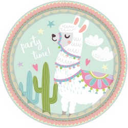 Plates, llama, cactus, birthday, decoration