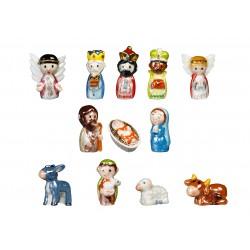 Porcelain figures, golden Nativity,