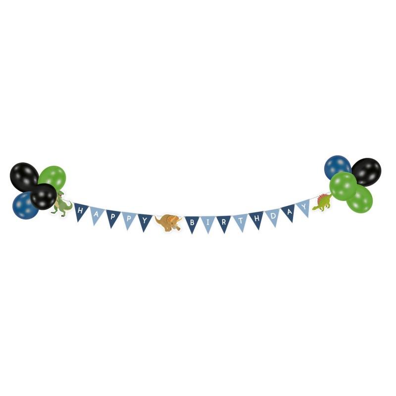 kit anniversaire, guirlande, ballons, happy dinosaur, dinosaures, décoration