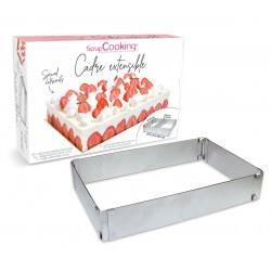 Cadre à pâtisserie extensible rectangle - inox