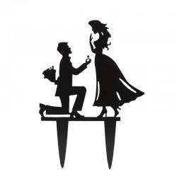 cake, topper, couple, décoration. demande de fiançailles