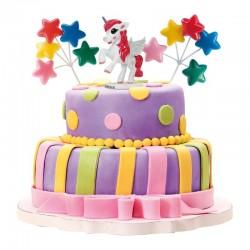 kit, décoration, gâteau, anniversaire, licorne