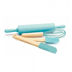 utensil, child, whisk, rolling pin, spatula, spoon, turquoise