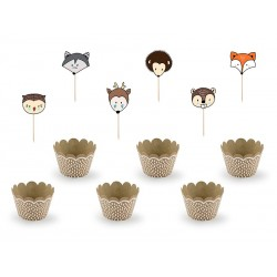 Cupcakes kit Woodland in kraft paper