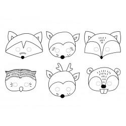 Masques à colorier animaux de la forêt en papier