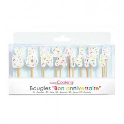 """Candles """"Bon anniversaire"""" in paraffin"""