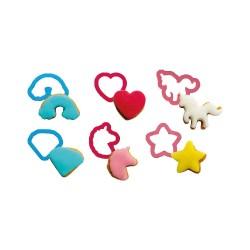 "Mini cutters ""Unicorns"" in plastic - 6 pcs"