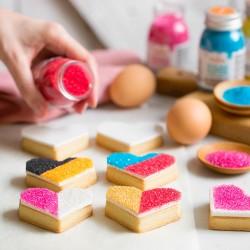 Glitter sugar in various colors