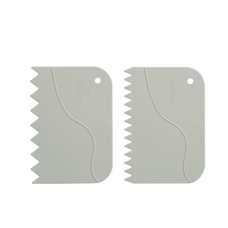 Set of 2 serrated scrapers in plastic