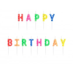 "13 Multicolored candles with dots ""Happy Birthday"""