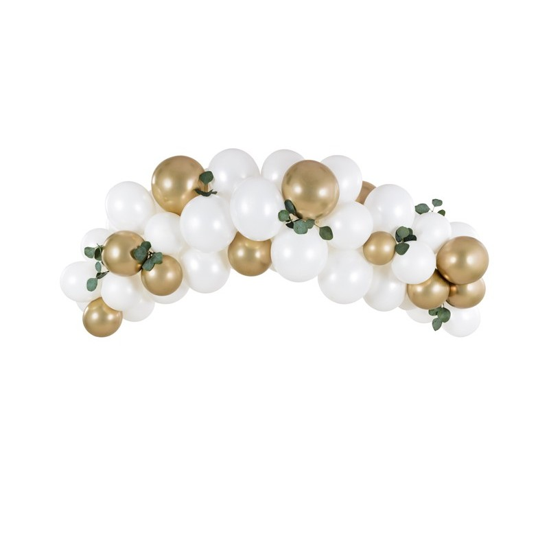 """Garland of balloons """"White & Gold"""""""