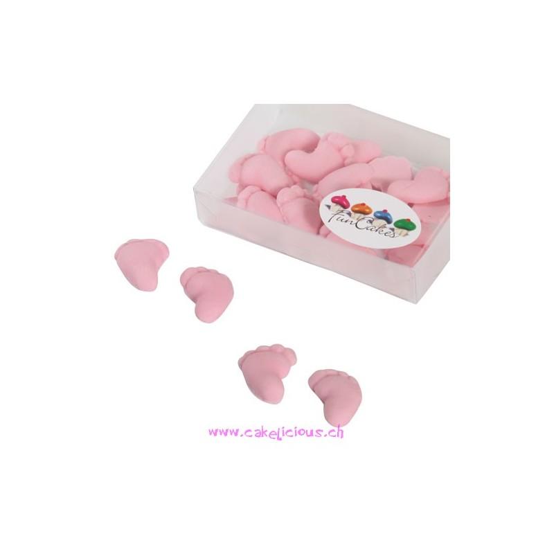 """Décorations en pâte à sucre """"Baby Feet"""" Pink 16 pc"""