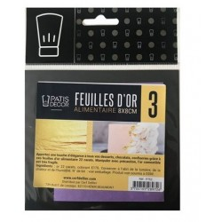 3 Feuilles d'or alimentaire 22 carats