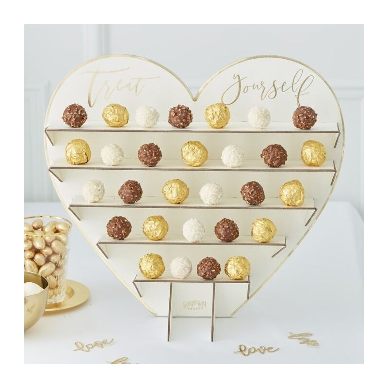 "Heart display ""Treat Yourself"" for chocolates in cardboard"