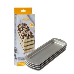 Set de 4 moules rectangulaires pour layer cake en matériau antiadhésif