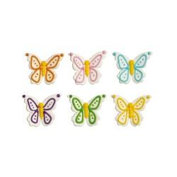 "6 decorations ""Butterflies"" in sugar"