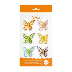 """6 décorations """"Papillons"""" en sucre"""