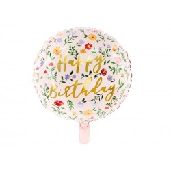 Ballon à fleurs en aluminium Happy Birthday